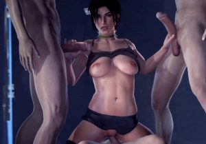 lara croft wagging her hips on a hard cock
