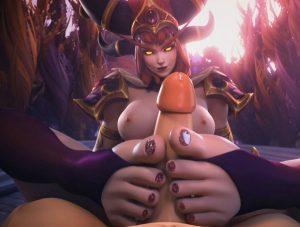 Alexstrasza 3D hentai - footjob and precum